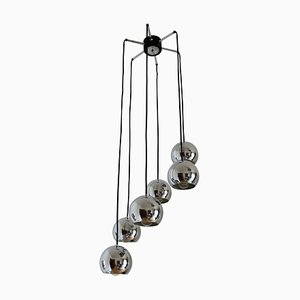 Cascading Spider Chandelier with Six Chrome Spheres, Germany, 1970s