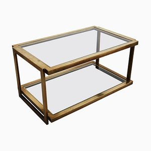 Italian Coffee Table in Brass and Glass, 1970s