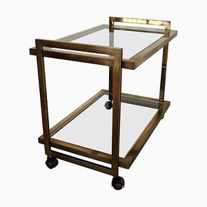 Mid-Century Italian Bar Cart or Trolley in Brass and Glass, 1970s