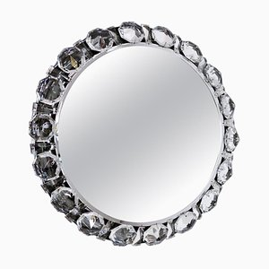 Round Backlit Wall Mirror with Chrome and Crystal Glass by Bakalowits, 1960s