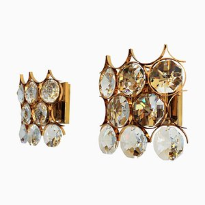 Crystal and Gold-Plated Brass Wall Sconces from Palwa, 1960s, Set of 2