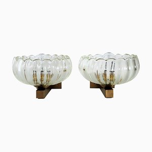 Italian Art Deco Style Brass and Murano Glass Wall Lights or Sconces, 1970s, Set of 2