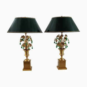 Mid-Century French Table Lamps with Metal Flowers and Green Glass by Maison Charles, 1970s, Set of 2