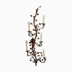 Italian Murano Floral Brass and Glass Wall Sconce, 1960s