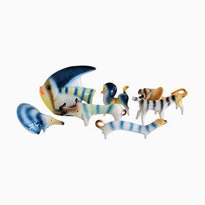 Italian Ceramic Animal Collection by Roberto Rigon, 1970s, Set of 7