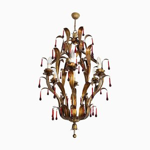 Mid-Century Italian Gilt Chandelier with Red Murano Glass Drops, Florence, 1970s