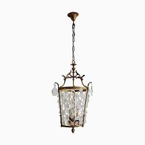 Vintage Italian Crystal Pendant Lamp or Lantern with Bronze Frame, 1950s