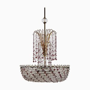 Italian Art Nouveau Handcrafted Murano Glass Waterfall Chandelier in Brass and Crystal