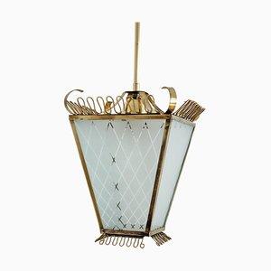 Mid-Century Italian Brass and Glass Lantern or Pendant Lamp, 1950s