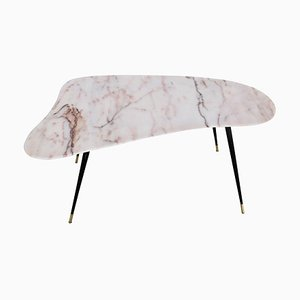Mid-Century Italian Coffee Table with Kidney Shaped Marble Top and Brass Tips, 1950s
