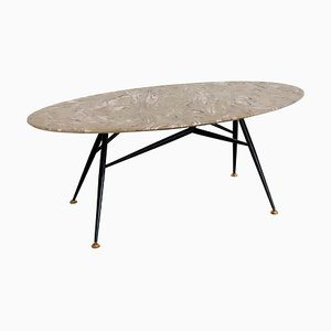 Mid-Century Italian Oval Coffee Table with Marble Top and Brass Tips, 1950s