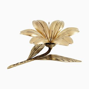 Mid-Century Italian Brass Flower Petal Ashtrays, 1950s