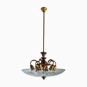 Italian Brass and Crystal Glass Chandelier, 1950s