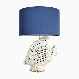 Large Italian Ceramic Fish Lamp with Brass Details, 1960s
