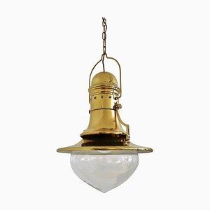 Italian Brass and Murano Glass Pendant Lamp or Lantern in Nautical Style, 1970s