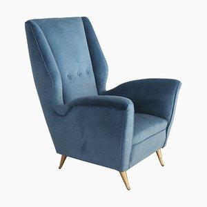 Italian Armchair in Blue Velvet with Brass Feet from Isa Bergamo, 1950s