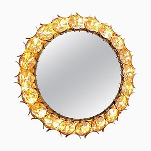 Crystal and Gold Plated Illuminated Brass Mirror from Palwa, 1960s