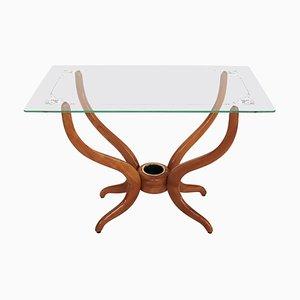 Italian Coffee Table in Walnut and Glass, 1950s