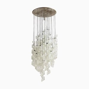 Italian Chandelier with Curly Glasses from Zero Quattro, 1970s