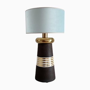 Italian Ceramic and Brass Table Lamp in Lighthouse Shape with Velvet Lampshade from Bitossi