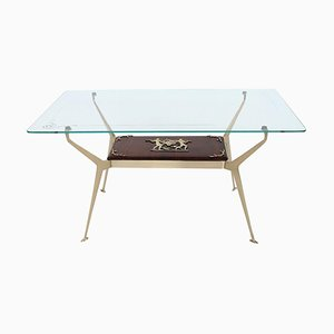 Italian Coffee Table in Brass and Mahogany, 1950s