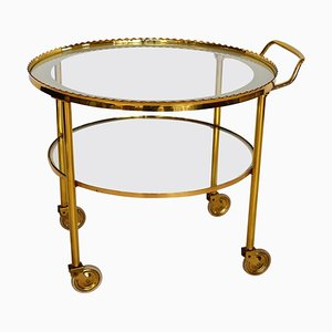 Brass Bar Cart or Trolley with Crystal Glass Inserts, 1970s