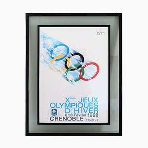 Vintage Poster Olympic Games Grenoble by Jean Brian, France, 1968