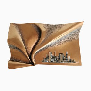 Brutalist Style Wall Sculpture in Bronze by Giovanni Schoeman, 1970s