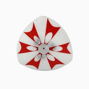 Plafonnier Blanc et Rouge en Verre de Napako
