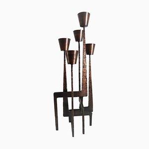 Brutalist Style Bronze Floor Candlestick, 1950s