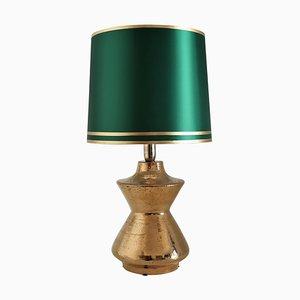 Table Lamp in Metallic Gold Ceramic by Aldo Londi for Bitossi, Italy, 1960s
