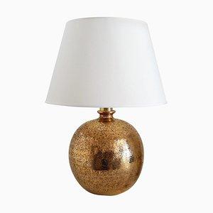 Bitossi Table Lamp in Metallic Gold Ceramic by Aldo Londi, Italy, 1960s