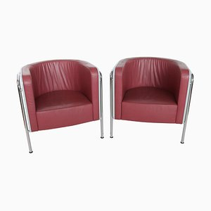 Lounge Chairs in Bentwood and Leather by Christoph Zschocke for Thonet, 1990s, Set of 2