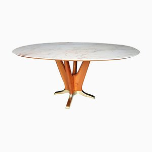 Italian Dining Table with Pink Marble and Cherry Wood Base, 1950s