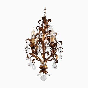 Gilt Metal and Murano Drops Chandelier in the Style of Maison Baguès, 1950s