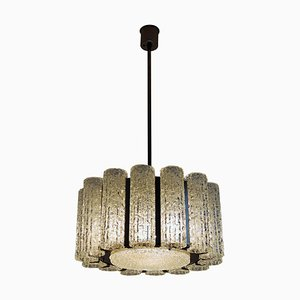 Murano Ice Glass Chandelier with Chrome Frame from Barovier E Toso, 1960s