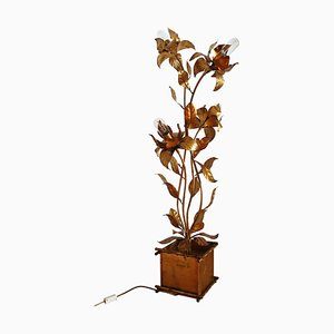Floor Lamp with Gilt Leaves and Flowers by Hans Kögl, 1970s