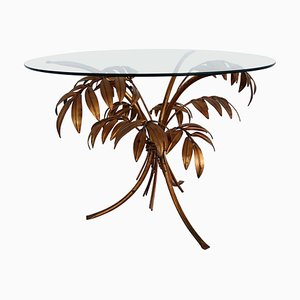 Coffee Table with Leaves in Gilt Metal by Hans Kögl, 1970s