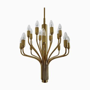 Mid-Century 16-Arm Brass Chandelier from WKR Germany, 1960s