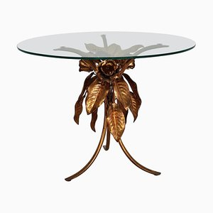 Leaves and Flower Coffee Table in Gilt Metal by Hans Kögl, 1970s