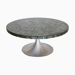 Green Mosaic Tulip Coffee Table by Heinz Lilienthal, 1960s