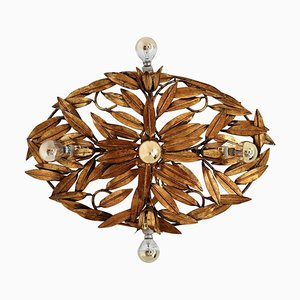 Italian Flush Mount or Wall Lamp with Gilt Leaves, 1950s