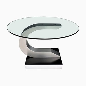 Vintage Italian Dining Table in Stainless Steel and Crystal Glass, 1970s