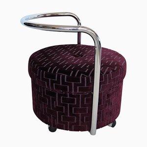 Vintage Italian Rolling Chrome Ottoman in Purple Velvet, 1970s
