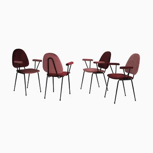 Italian Dining Chairs in Metal and Coral Red Velvet by Gastone Rinaldi, 1950s, Set of 4