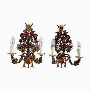Vintage French Tole Floral Wall Sconces with Hand-Painted Flowers, Set of 2