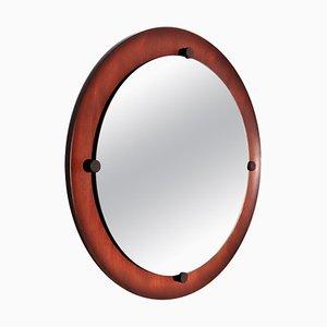 Italian Round Wall Mirror in Teak, 1960s