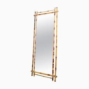 Italian Wall Mirror in Bamboo Frame, 1960s