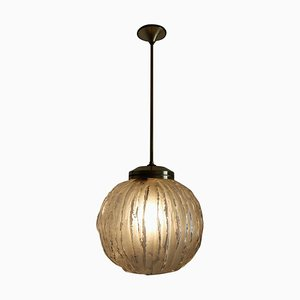 Italian Glass and Brass Chandelier by Angelo Brotto, 1950s
