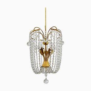 Österreichischer Kronleuchter aus Kristallglas & Messing, 1950er
